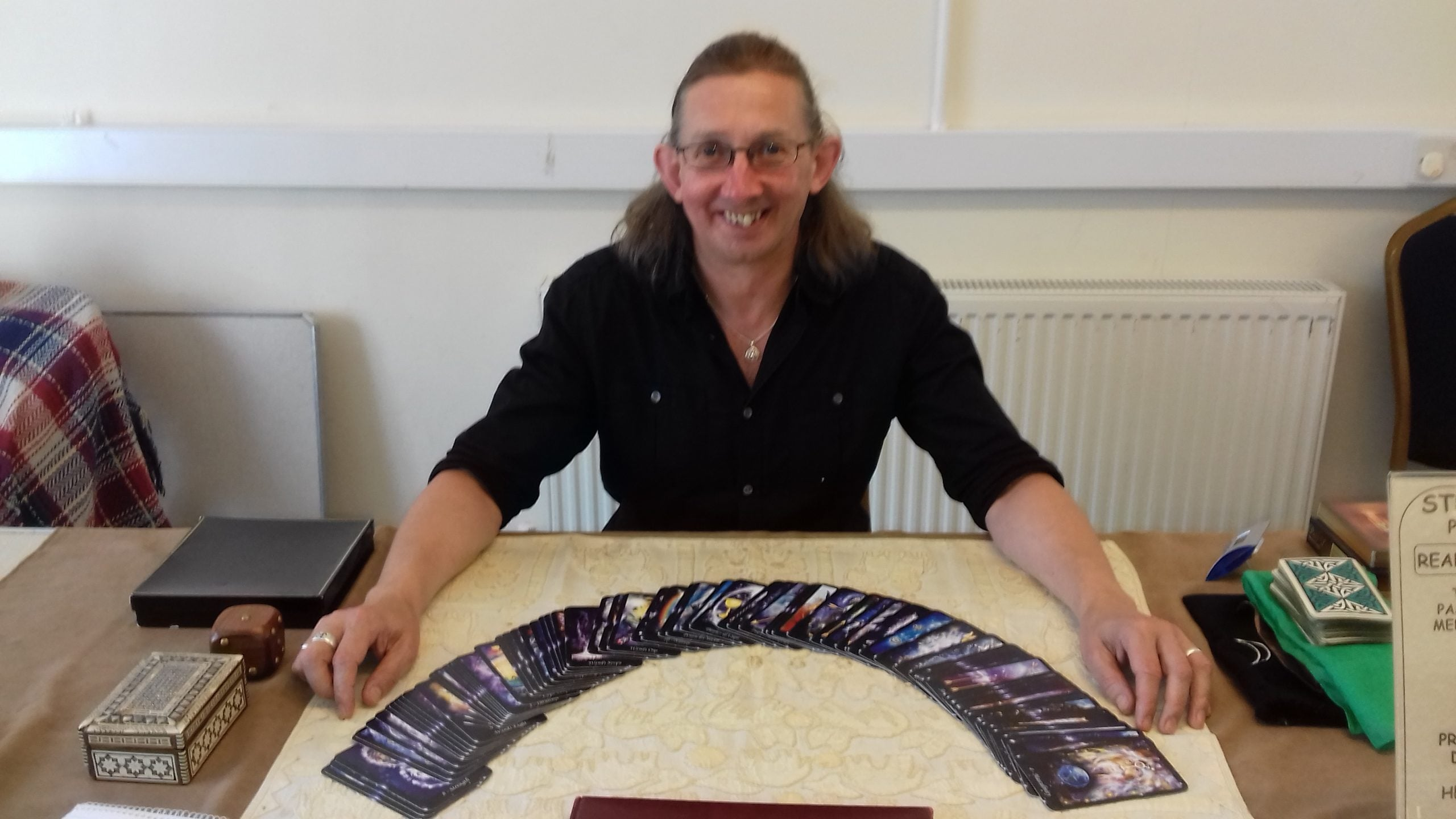 Photograph of Steve Hounsome ready to read and teach the Tarot.