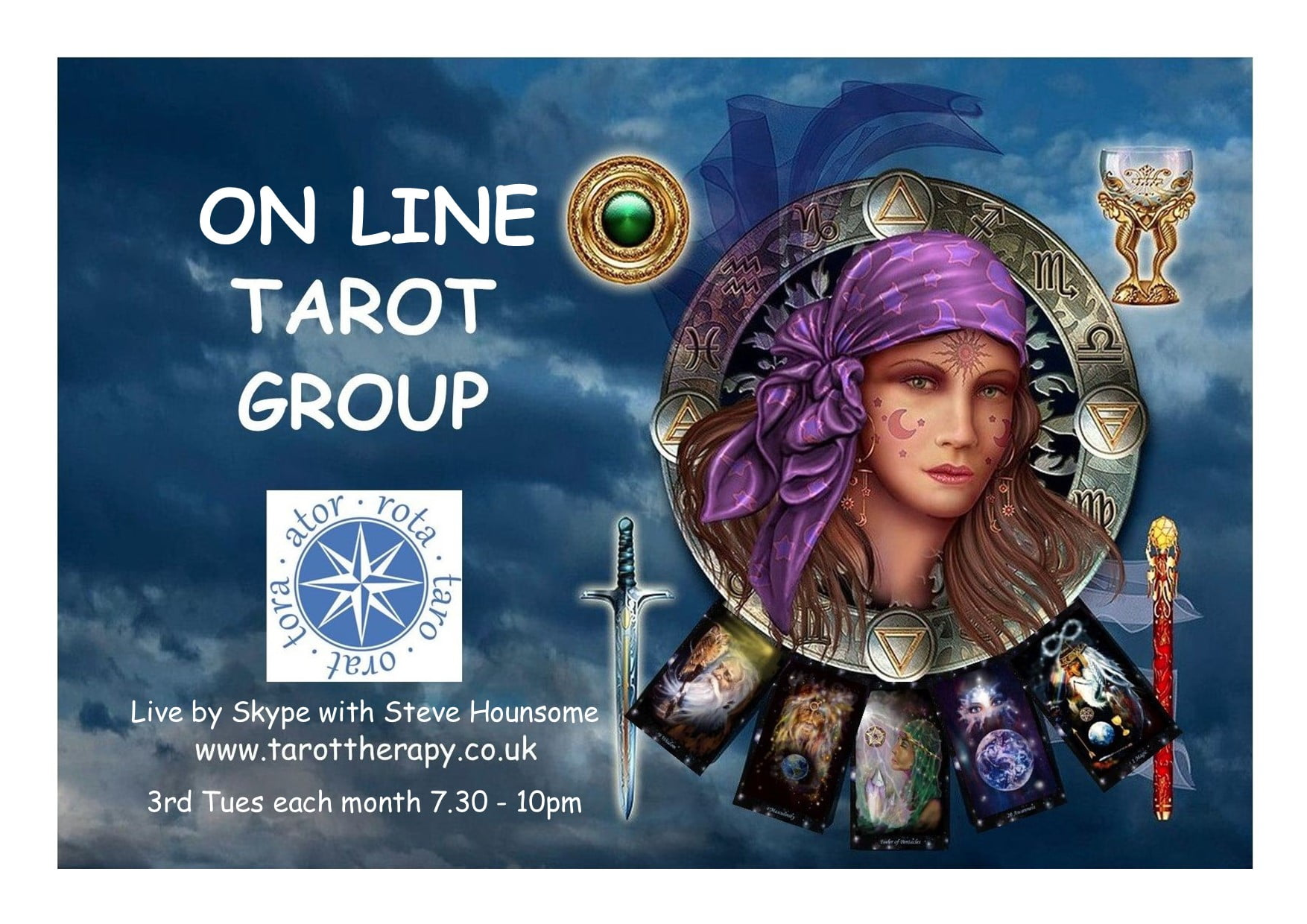 Image of a lady reading the Tarot with wording Tarot Group in the picture